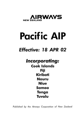 The Pacific AIP - Digital Version only - Effective 18 April 2002