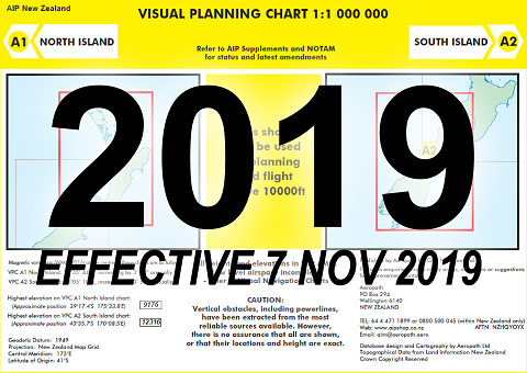 A1/A2 Visual Planning Chart - North Island/South Island (1:1,000,000) - 7 Nov 2019