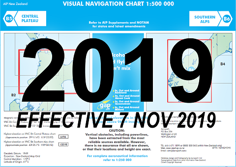 B5/B6 Visual Navigation Chart - Central Plateau/Southern Alps (1:500,000) - 7 Nov 2019