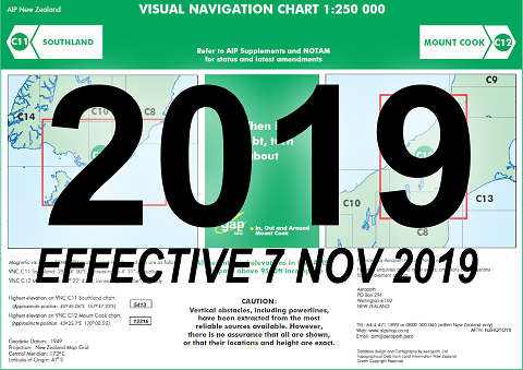 C11/C12 Visual Navigation Chart - Southland/Mount Cook (1:250,000)- 7 Nov 2019