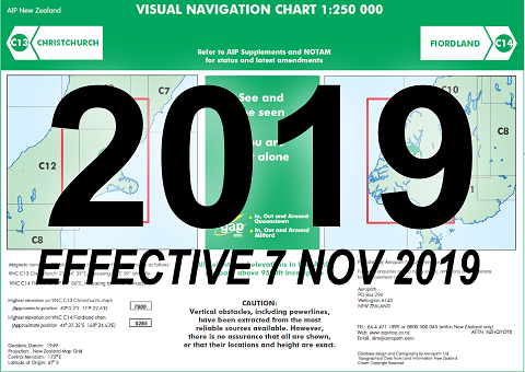 C13/C14 Visual Navigation Chart - Christchurch/Fiordland (1:250,000)- 7 Nov 2019