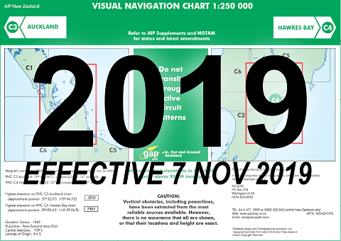 C3/C4 Visual Navigation Chart - Auckland/Hawkes Bay (1:250,000)- 7 Nov 2019