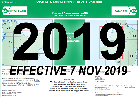 C5/C6 Visual Navigation Chart - Bay of Plenty/Taranaki (1:250,000)- 7 Nov 2019