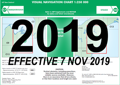 C7/C8 Visual Navigation Chart - Marlborough/Otago (1:250,000)- 7 Nov 2019