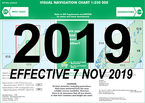 C9/C10 Visual Navigation Chart - West Coast/Queenstown (1:250,000)- 7 Nov 2019