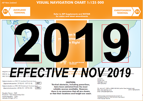 D1/D2 Visual Navigation Chart - Auckland/Christchurch Terminal (1:125,000) - 7 Nov 2019