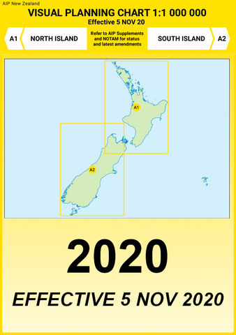 A1/A2 Visual Planning Chart - North Island/South Island (1:1,000,000) - 5 Nov 2020