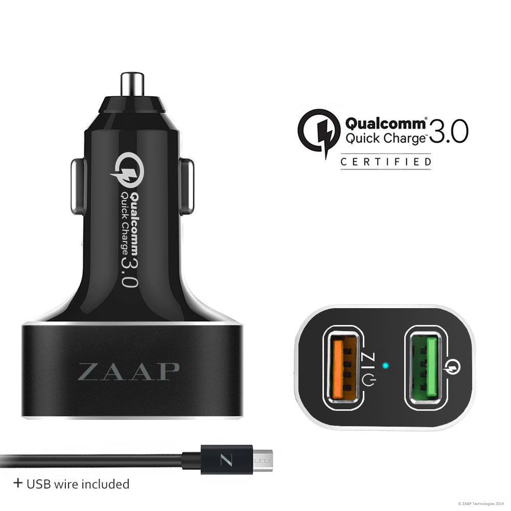 2-PORT QUALCOMM 3.0 CAR CHARGER/ 30 W/ +1 USB Charging Cable