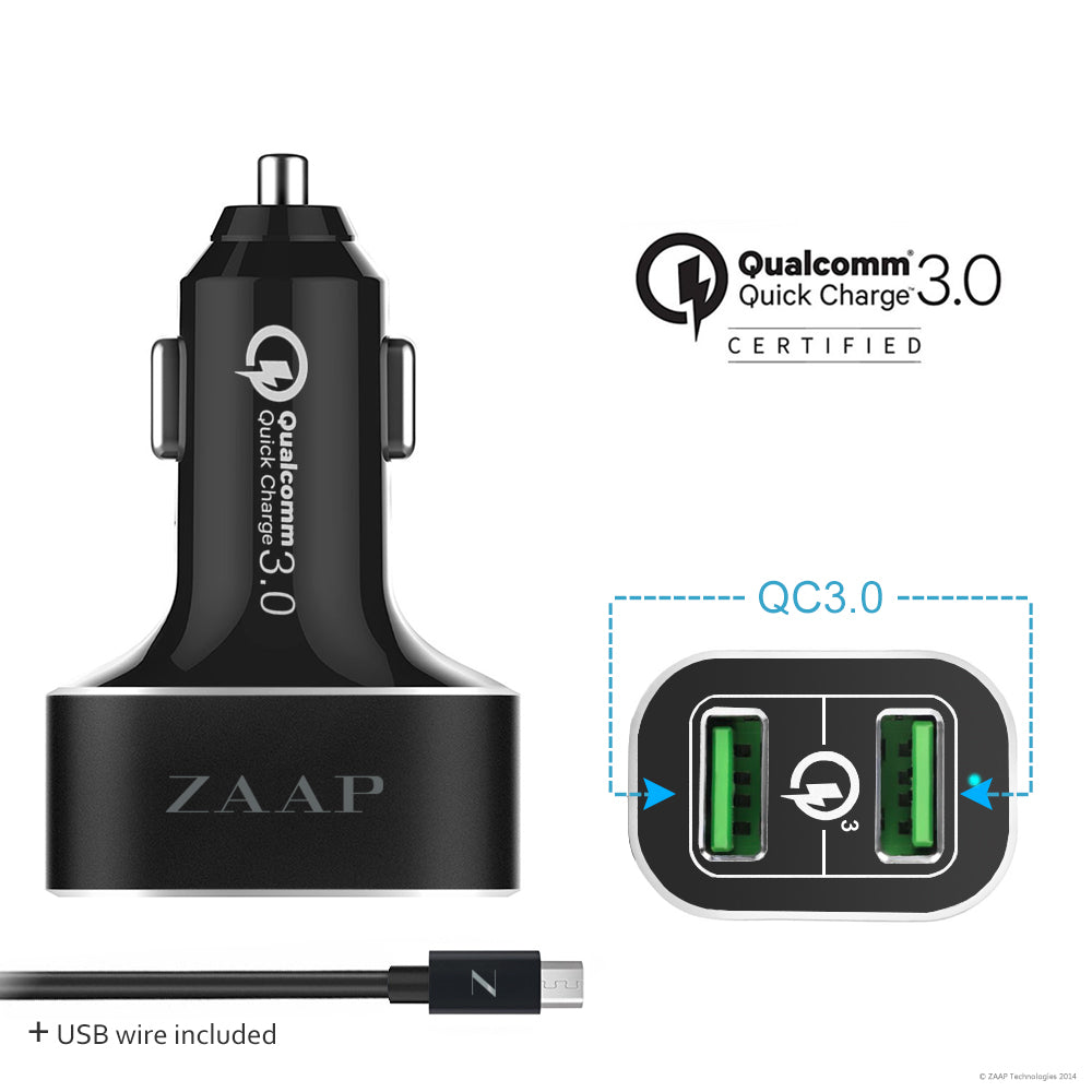 2-PORT QUALCOMM 3.0 CAR CHARGER/36W + 1 USB Charging Cable