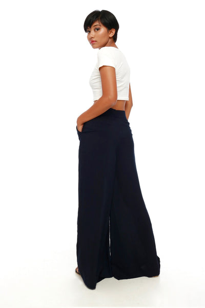 Bottoms - High Waisted Flare Pants Blue