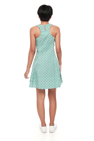 Dress - Floral Green Short Dress