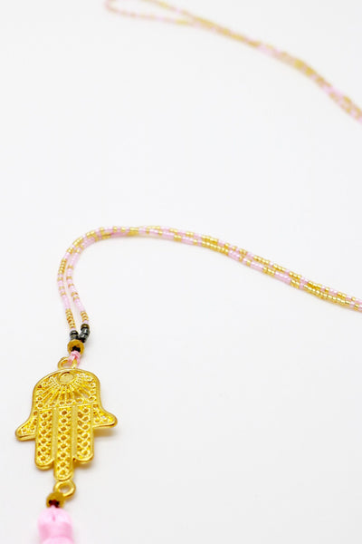 Necklace - Hamsa Soft Pink Necklace