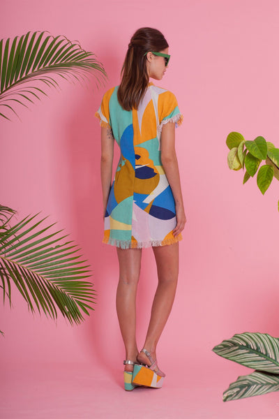 Premium Dress - Imagine Shift Dress - Geo Colours