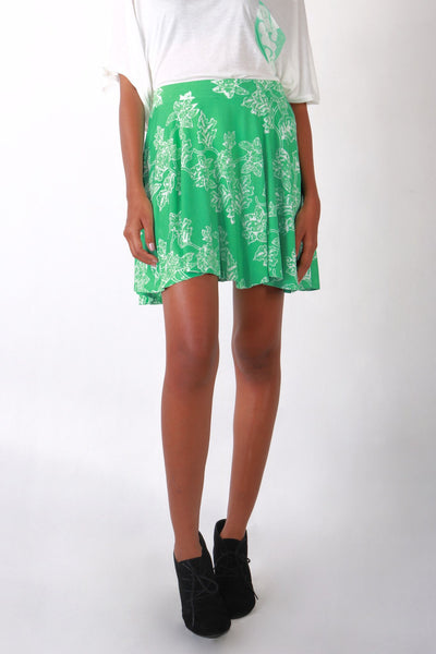 Skirt - Circle Zip Skirt Floral Green