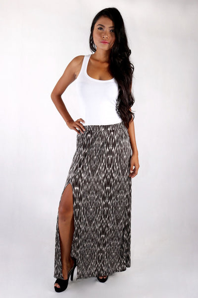 Skirt - Monochrome High Slit Maxi Skirt