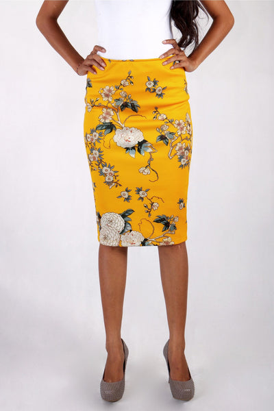 Skirt - Yellow Chrysan Midi Skirt