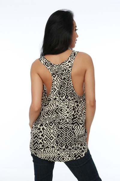 Top - Tank Ethnic Black