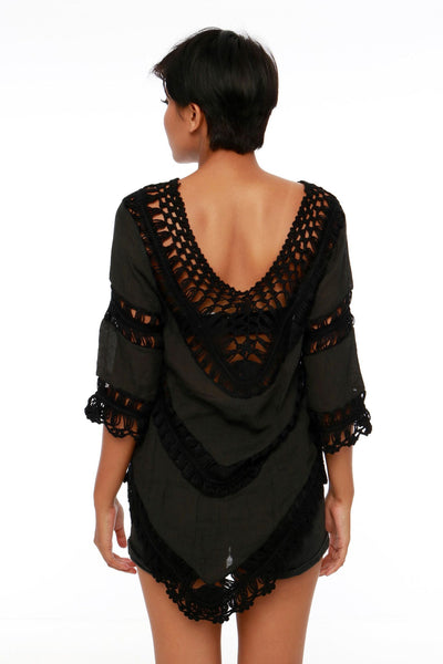 Top - Top Blouse Patch Work Black