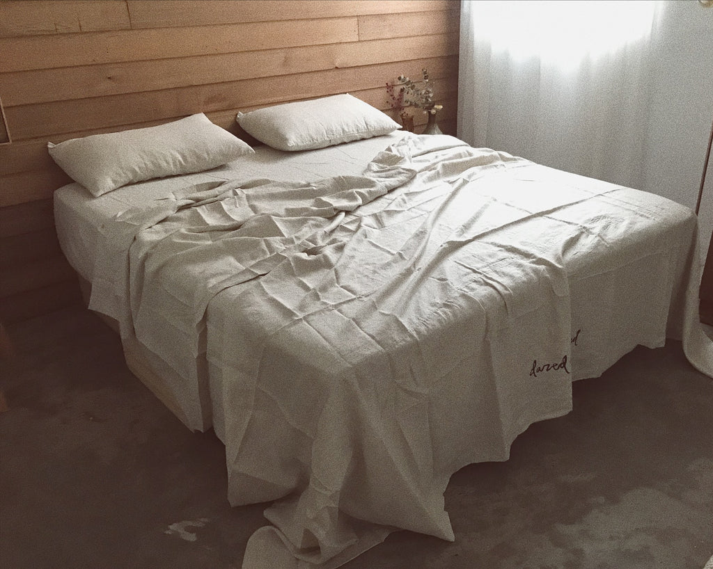 natural linen bed cover