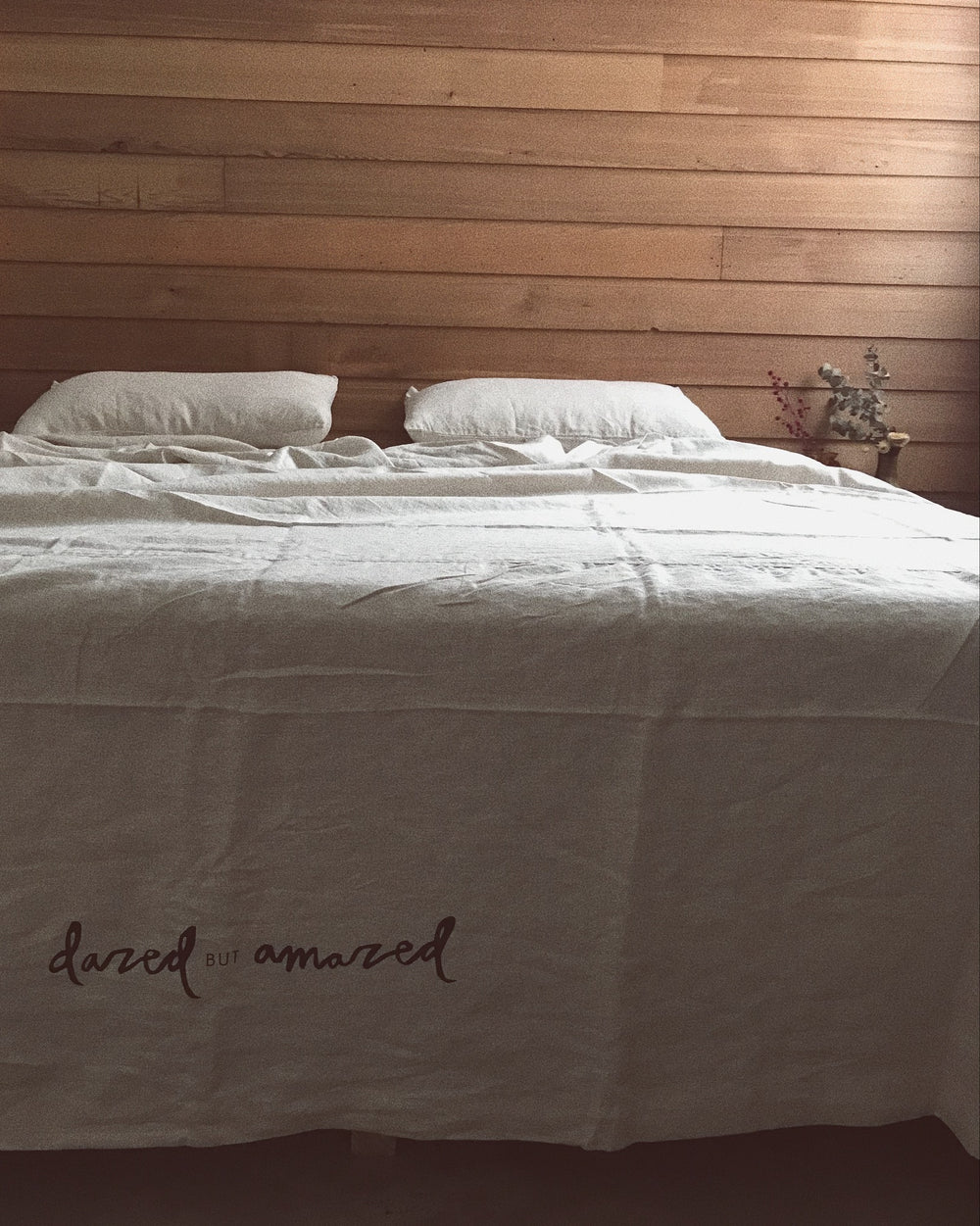 natural linen bed cover set