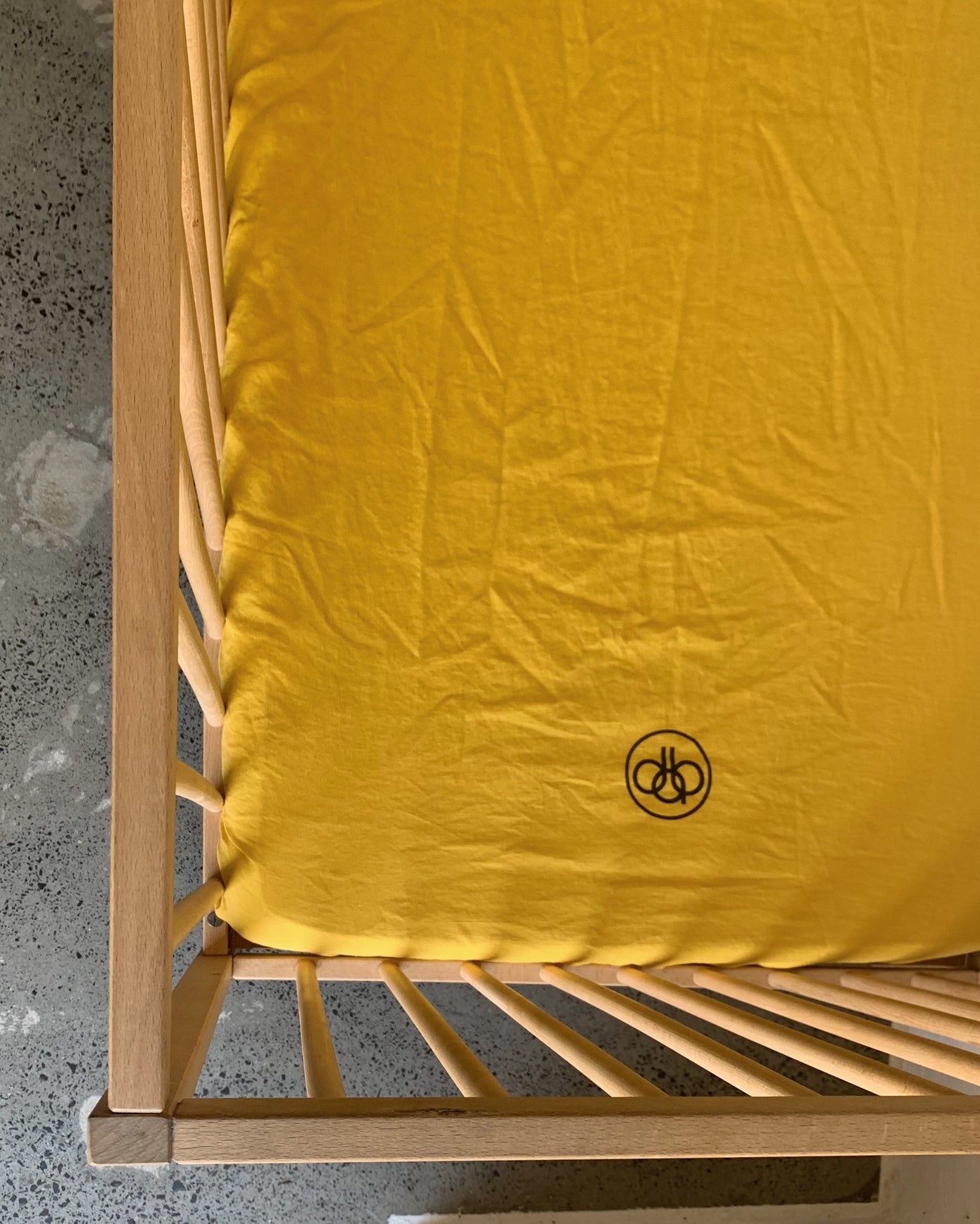 fitted cot . saffron. dba ready dyed linen