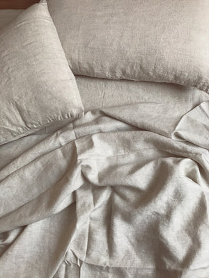 bed cover set . natural linen
