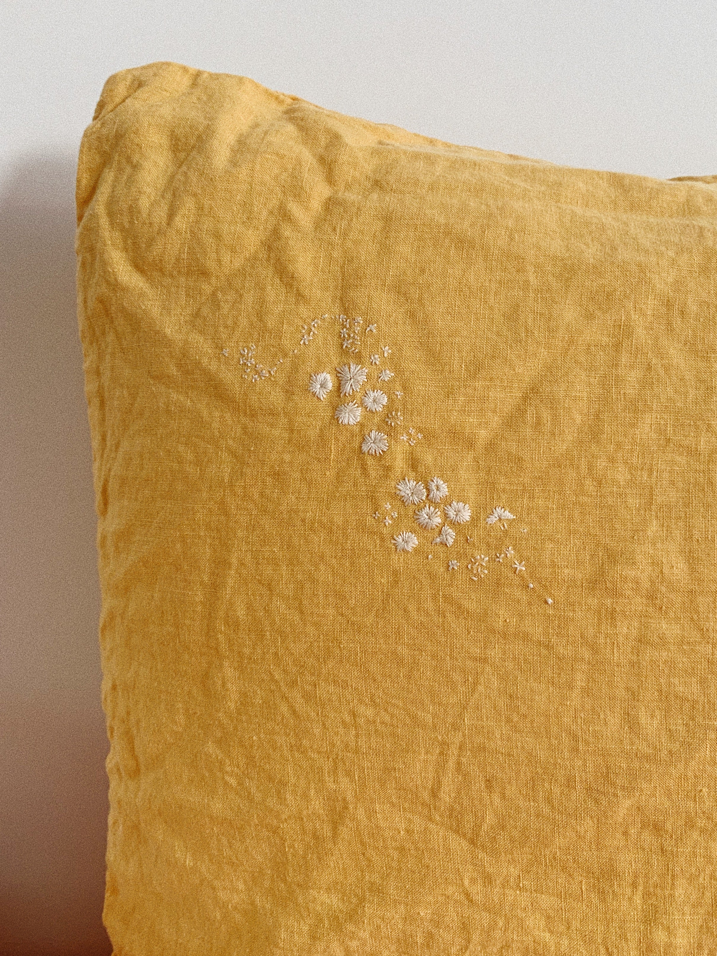 pillowslip set. hand stitched blooms x jaime kachel . honey