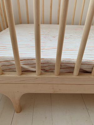 fitted cot . thin hand painted stripe