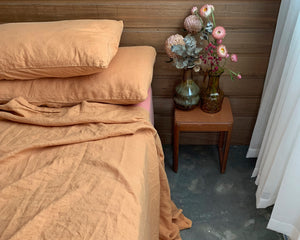 bed cover sheet . cinnamon . dba ready dyed linen