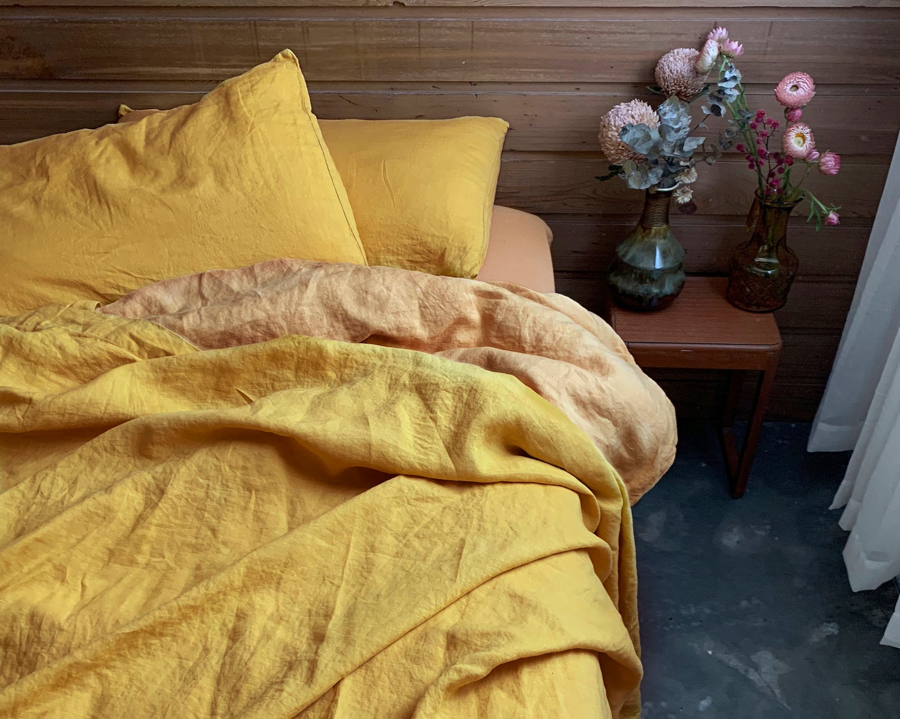 bed cover sheet . saffron. dba ready dyed linen