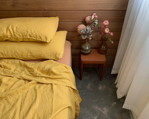 bed cover set . saffron. dba ready dyed linen