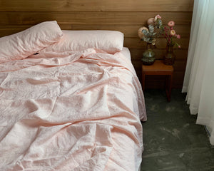 bed cover sheet . apricot. dba ready dyed linen