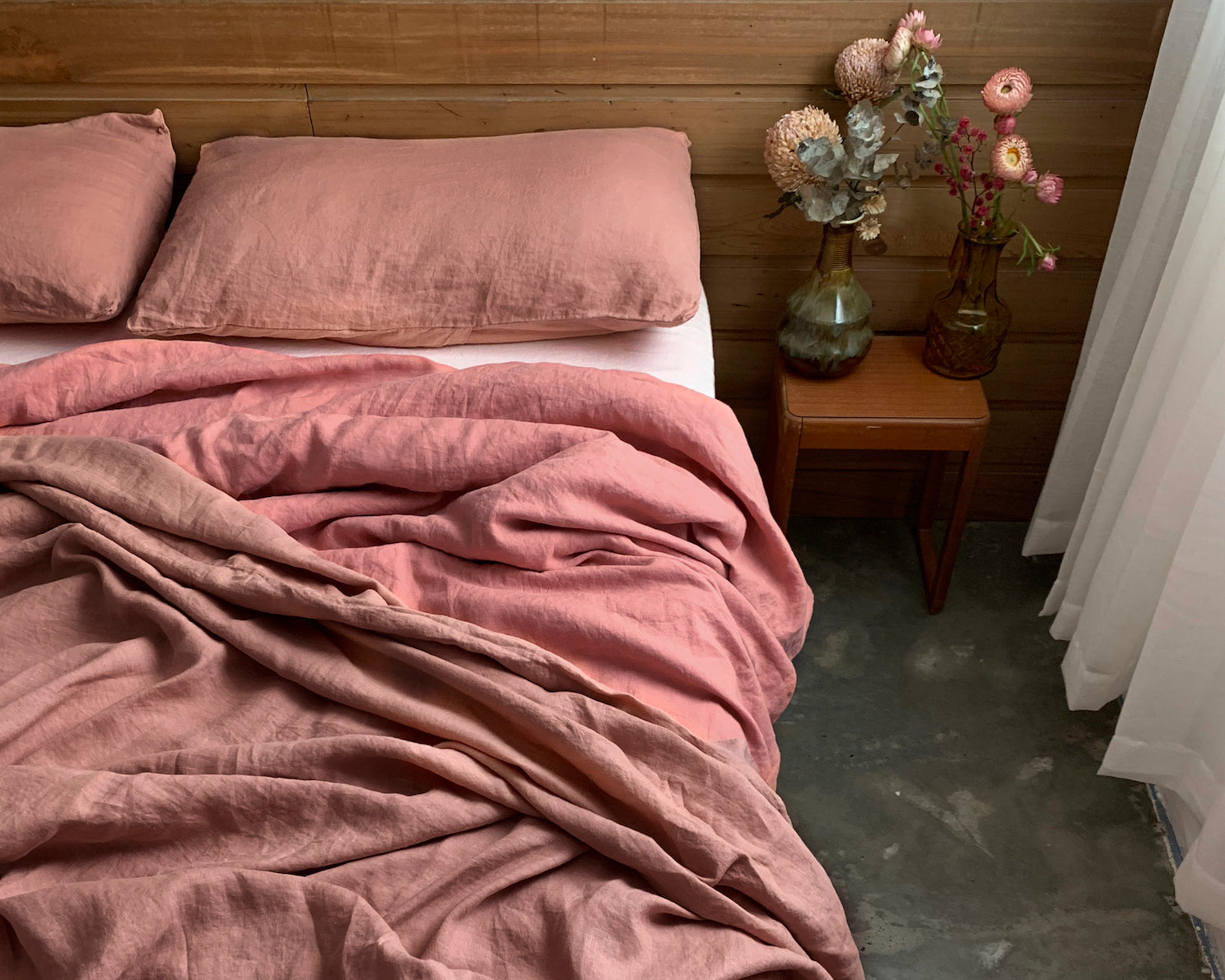 bed cover sheet . terra rose. dba ready dyed linen