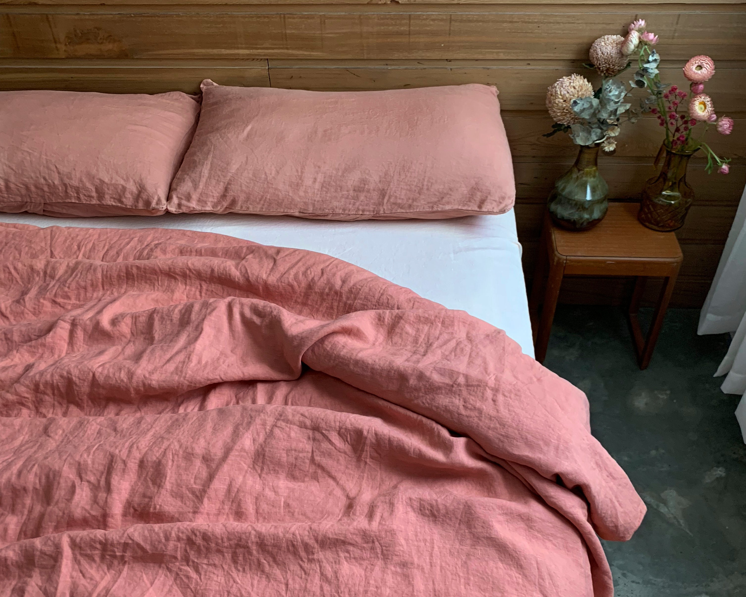 pillowslip set . terra rose . dba ready dyed linen