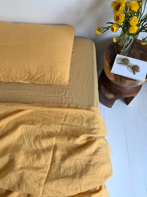 bed cover sheet . honey . dba ready dyed linen