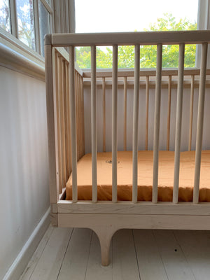 fitted cot . cinnamon. dba ready dyed linen