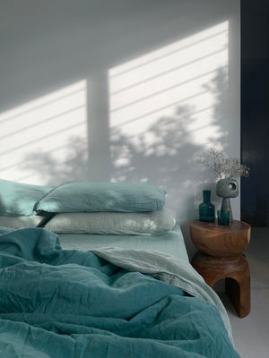 luxury bed set . tangled up in blue.  blue tonal hand dyed linen