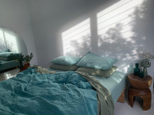 luxury bed set . tangled up in blue.  green tonal hand dyed linen