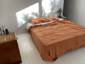 bed cover sheet . caramel. dba ready dyed linen