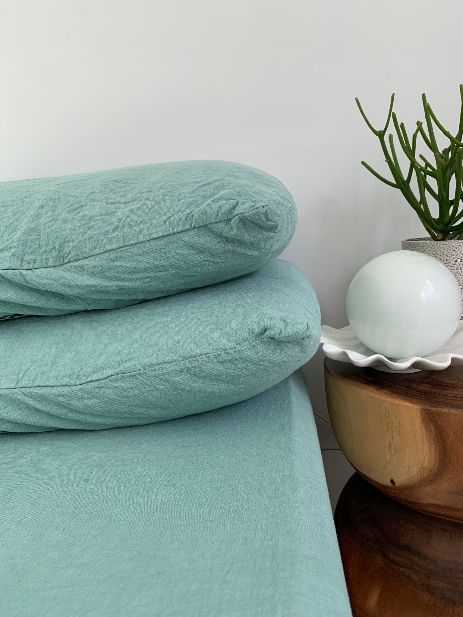 pillowslip set . sea glass hand dyed linen