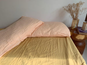pillowslip set . peach . dba ready dyed linen