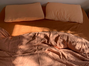 full bed set . dba Set 06. Tonal ready dyed linen