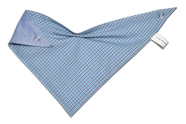 Boy Bandana Bib - Check Blue-Green