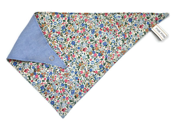 Girl Bandana Bib - Blue Meadow