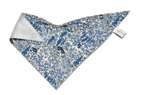 Girl Bandana Bib - Vintage Flowers Blue
