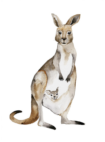 Watercolour - Kangaroo Mama