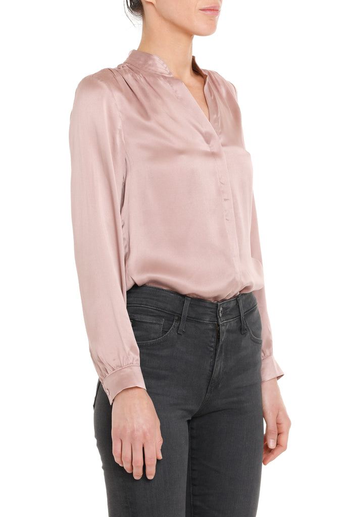 Olivia Satin Blouse - Blush