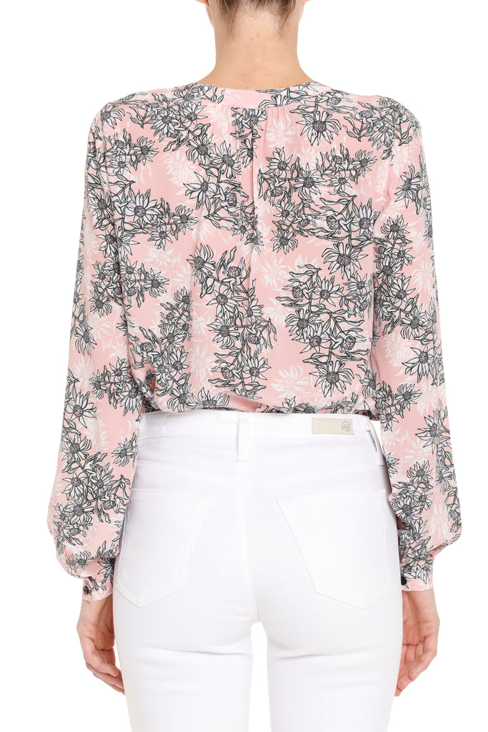 Sienna Silk Blouse - Nude Floral