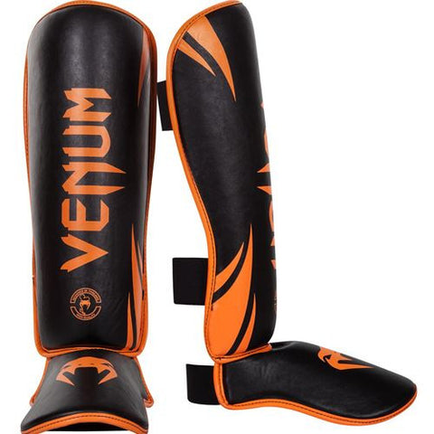 Venum Challenger Shinguards Orange & Black