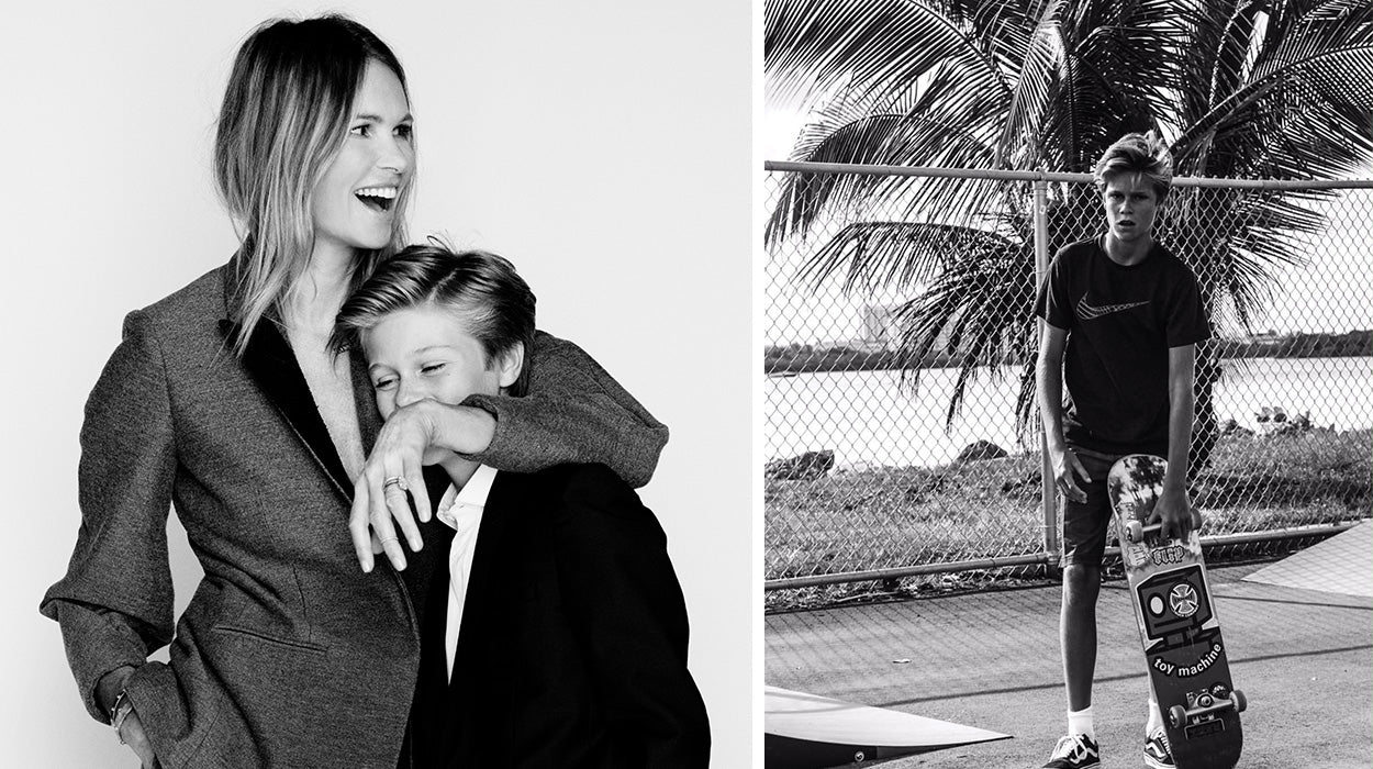 Elle Macpherson and her son Cy